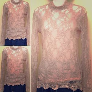 Rib & Lace Mock Turtleneck VTG BLUSH SM/MED